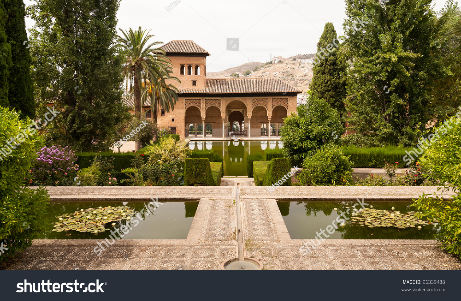 Generalife Gardens And Palace Inside The Alhambra In Granada, Spain Stock Pho...