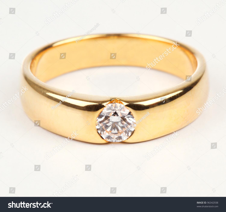 Golden Ring Diamond Isolated On White Stock Photo 96342938 ...