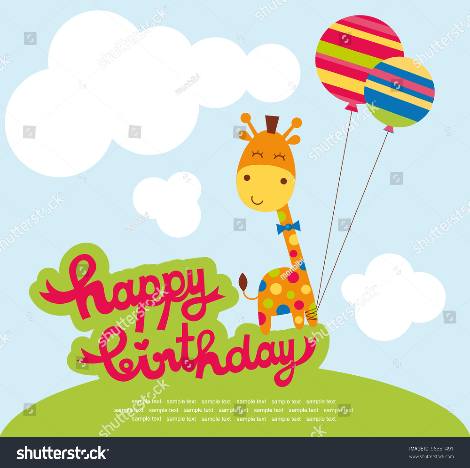 Cute Happy Birthday Card Nice Giraffe Vector 96351491 – Cute Happy Birthday Cards for Friends