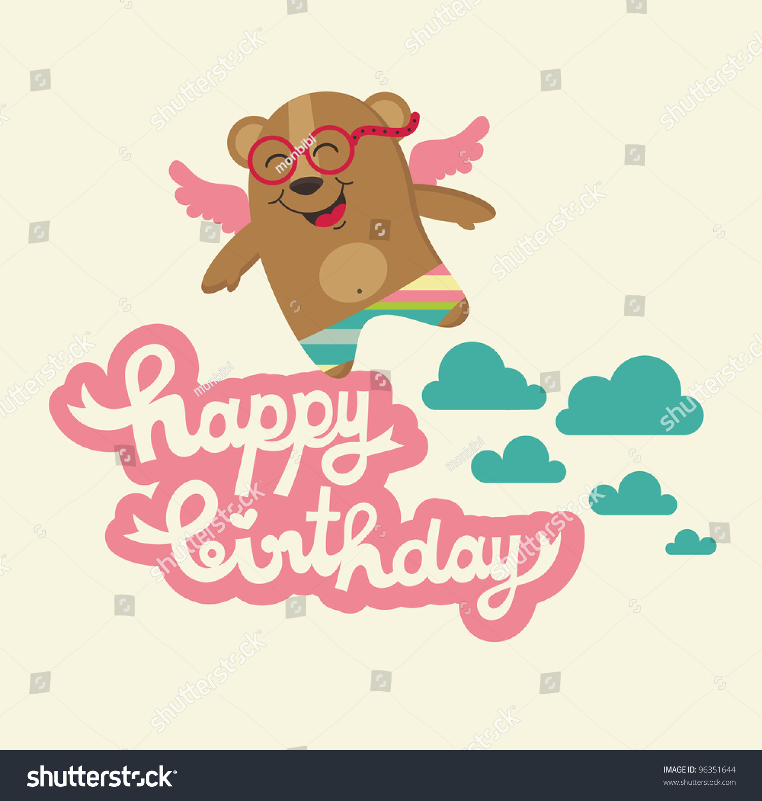 Cute Happy Birthday Card Nice Bear Vector 96351644 – Nice Happy Birthday Cards