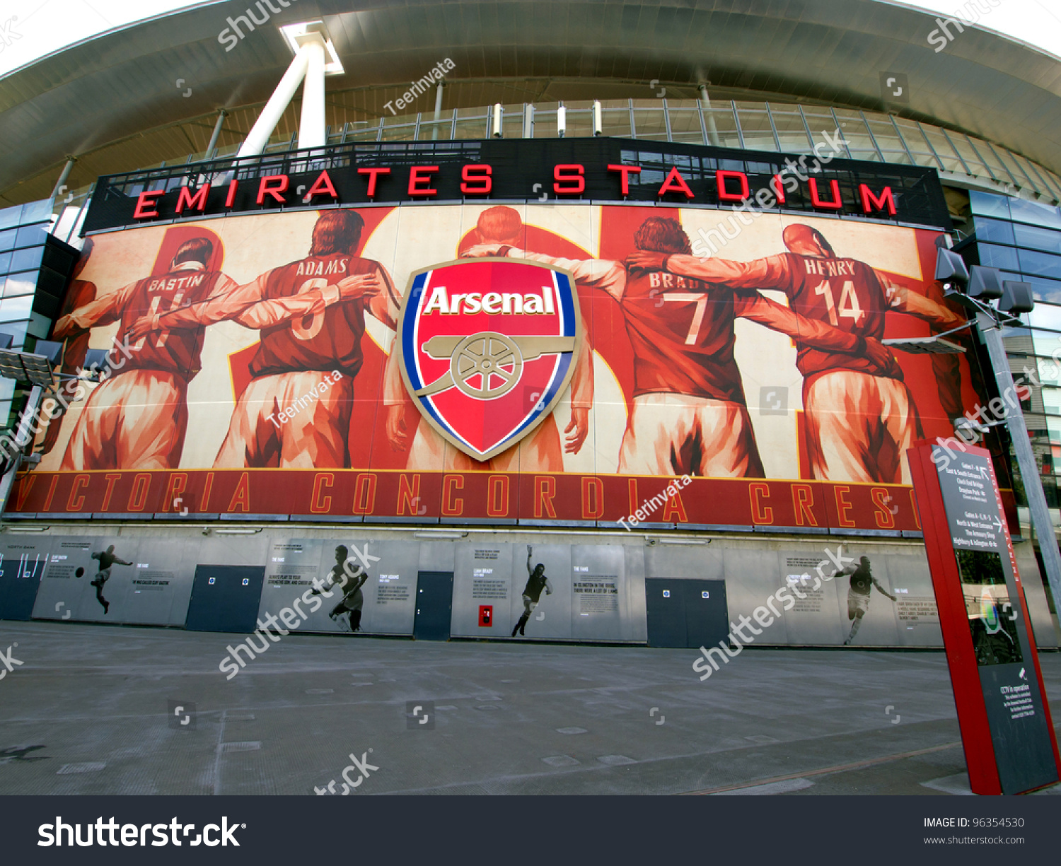 London july 24 one of the 8 murals installed on the for Emirates stadium mural