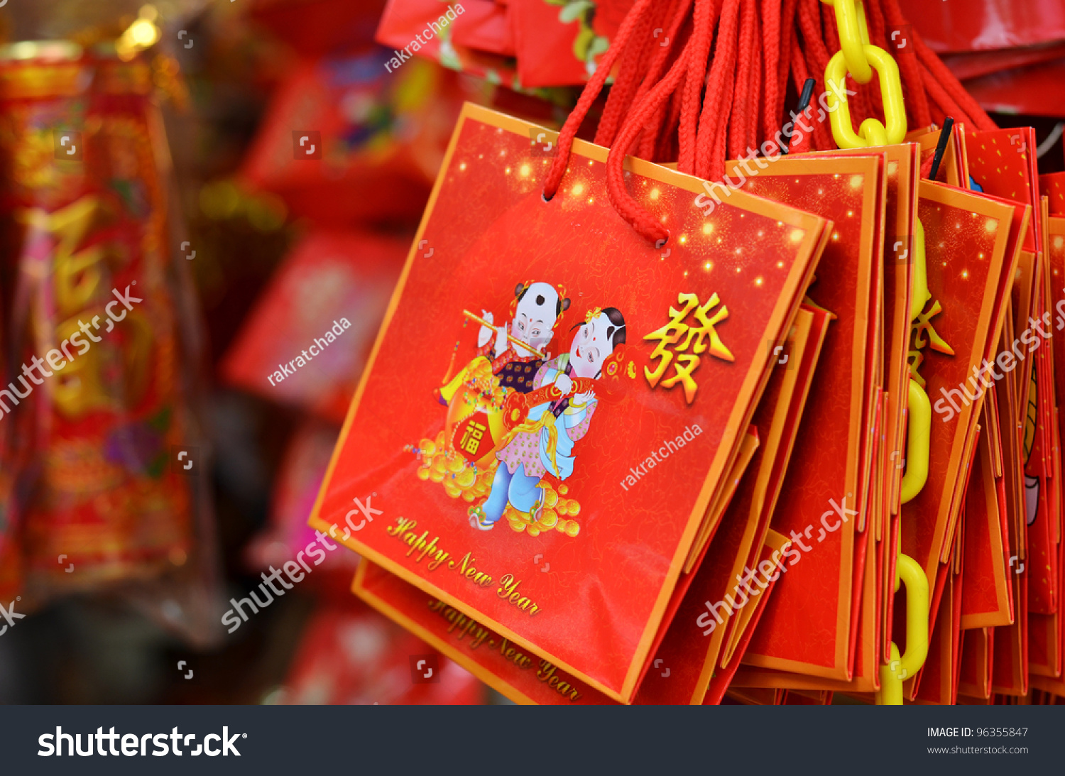 Chinese New Year Gift Bags In The Market Stock Photo ...