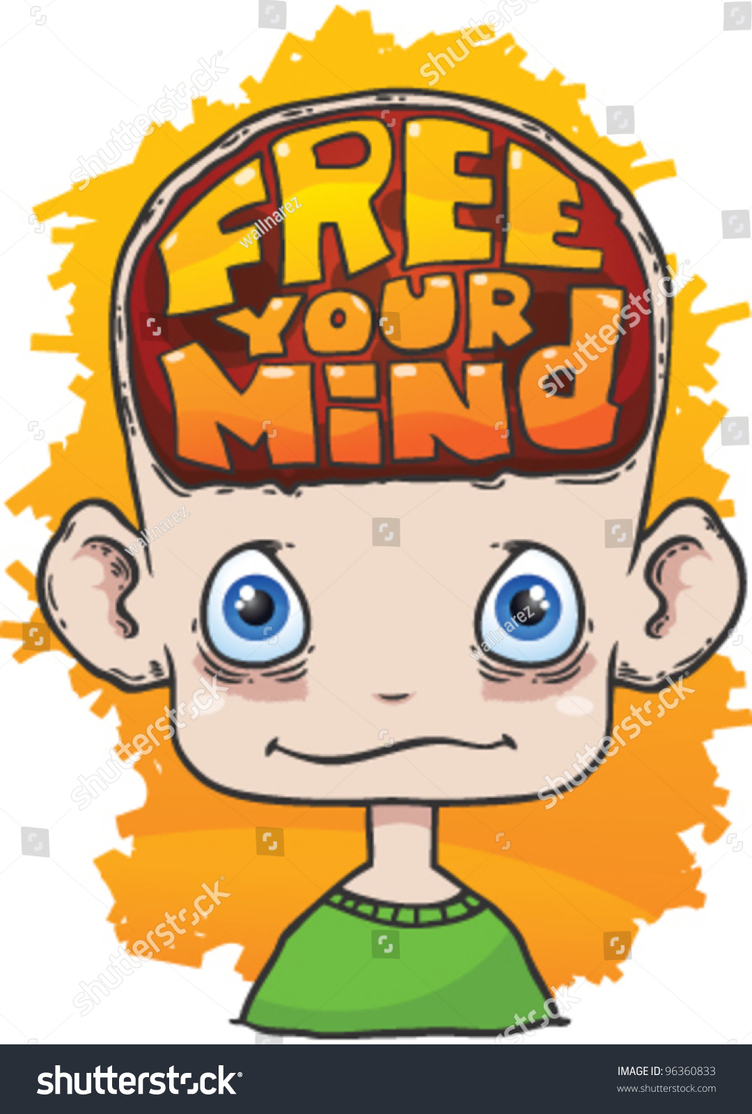 cartoon head text free your mind stock vector 96360833 shutterstock