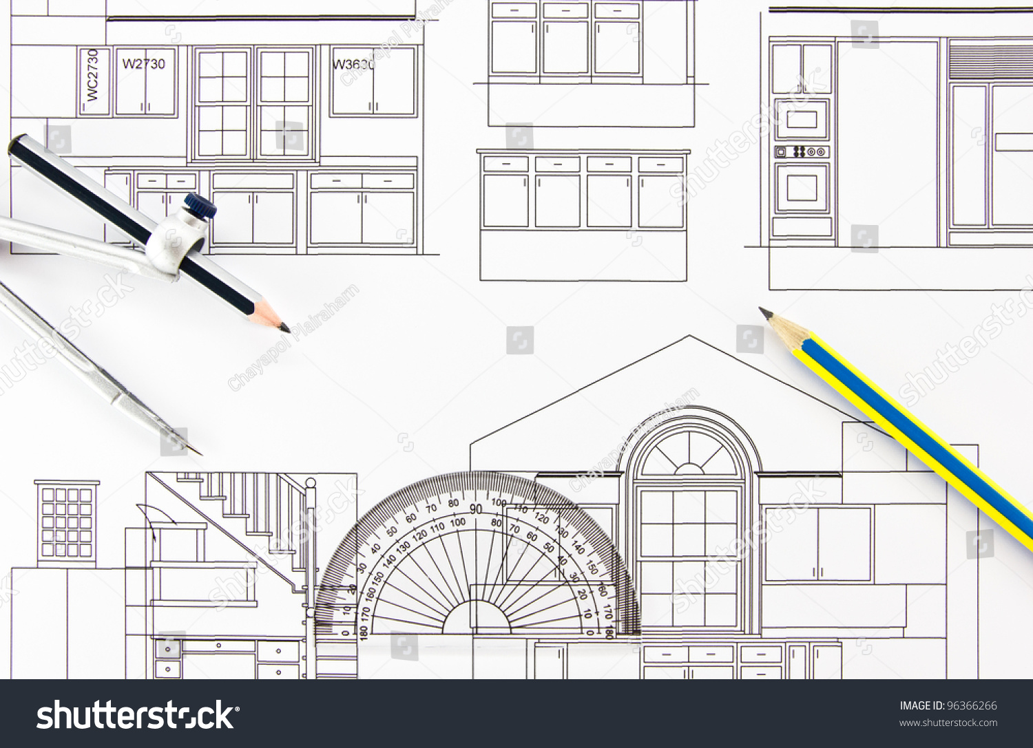 Architecture Drawing Instruments architecture home draw drawing instruments stock photo 96366266
