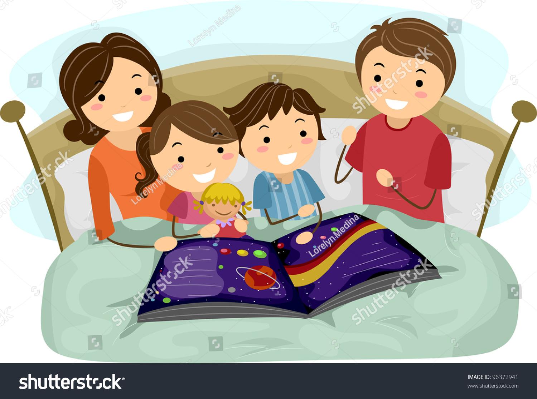 illustration kids listening bedtime story stock vector