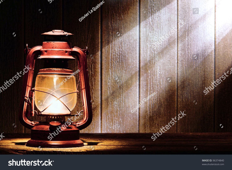 Old Fashioned Kerosene Lantern Style Oil Stock Photo