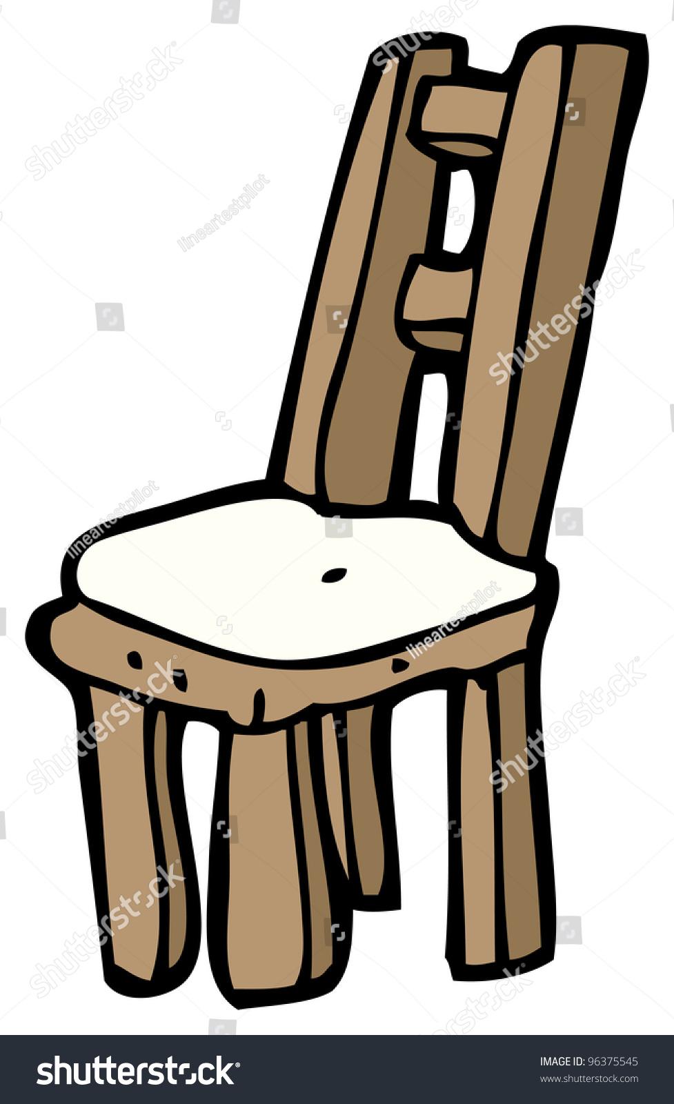 Wooden chair cartoon stock illustration