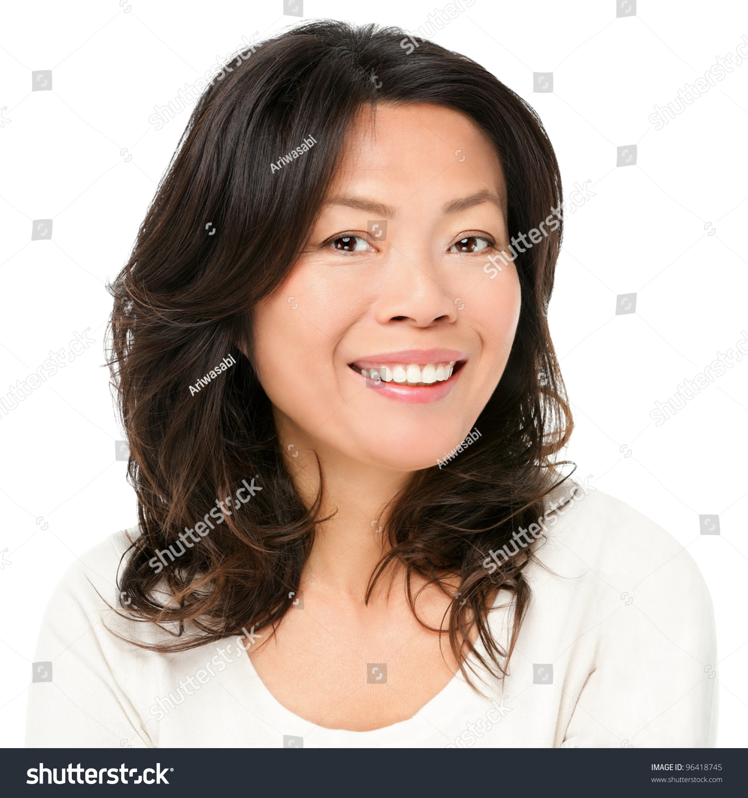 asian woman smiling happy portrait beautiful stock photo (royalty
