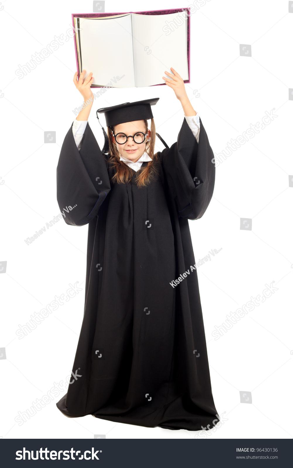 Portrait Cute Girl Graduation Gown Education Stock Photo (100% Legal ...