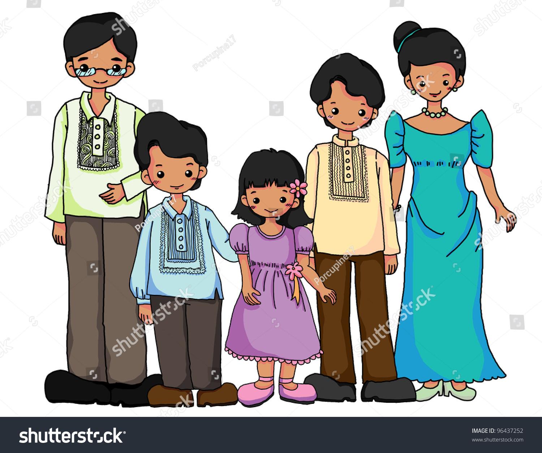 Filipinos family filipinos traditional costume stock illustration filipinos family in filipinos traditional costume biocorpaavc