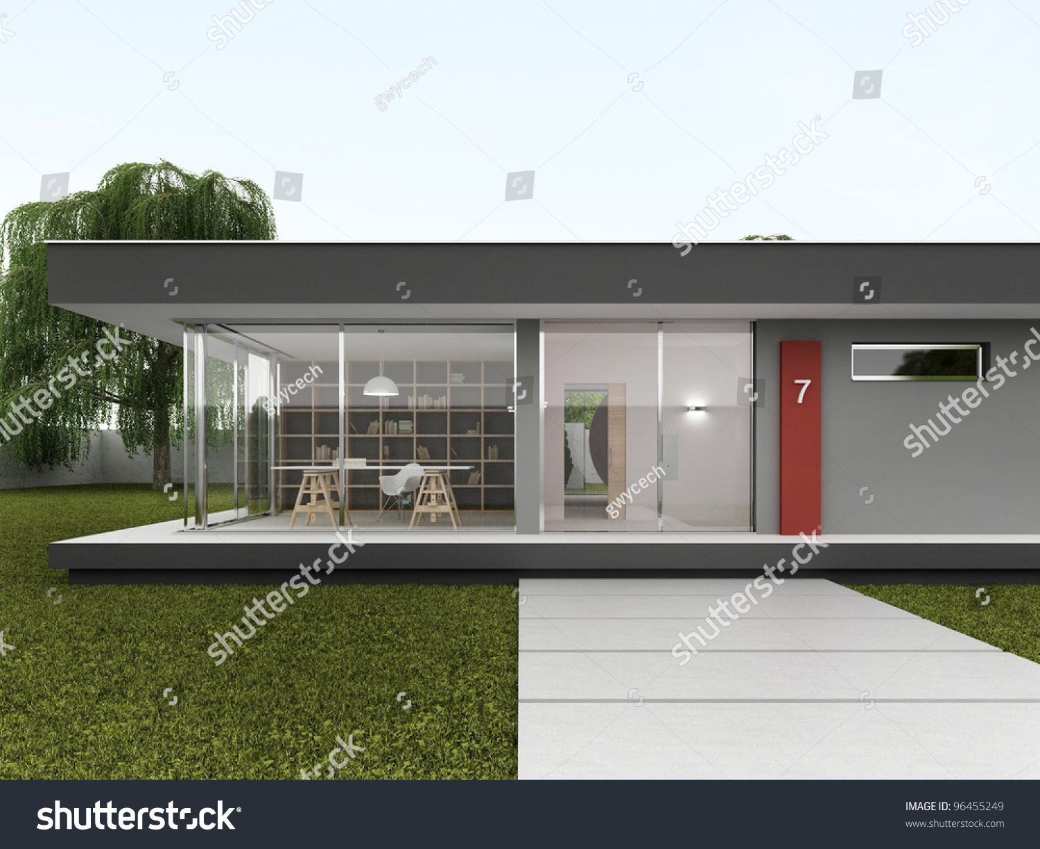 Front Yard Very Modern House Bungalow Stock Illustration 96455249