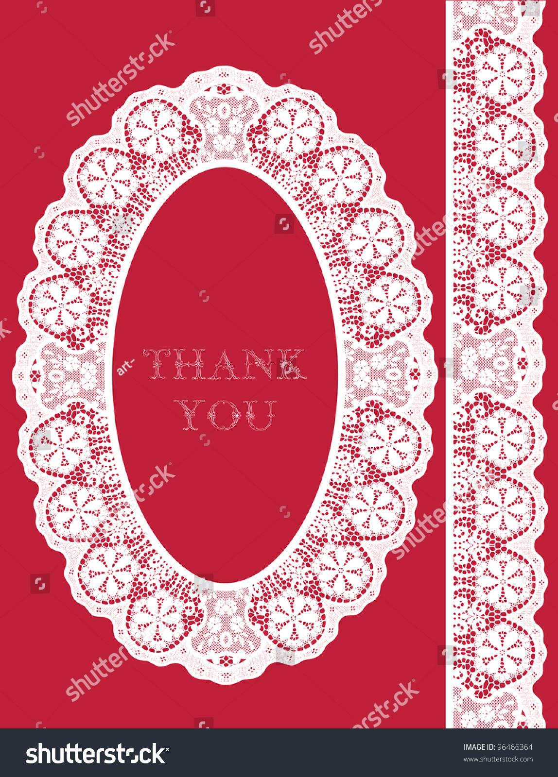 Cute Wedding Invitation Card Lace Ornament Stock Vector 96466364 ...