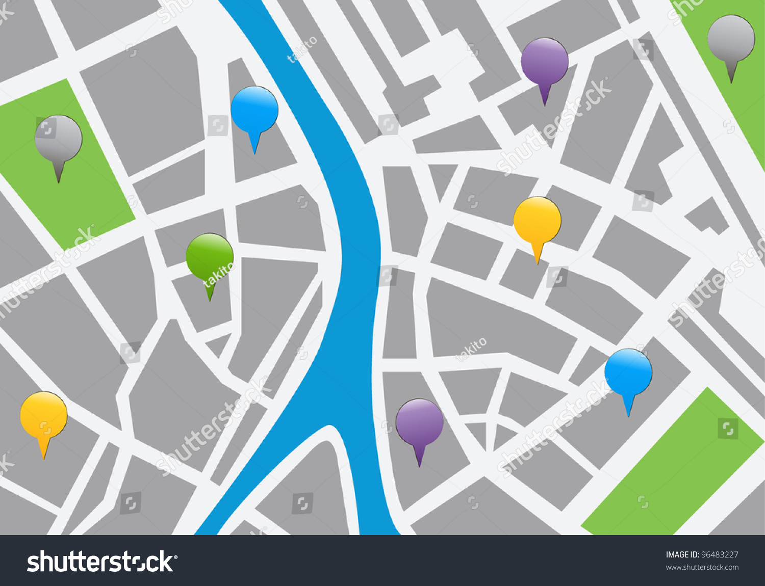 City Map With Labels. Vector Icon Illustration