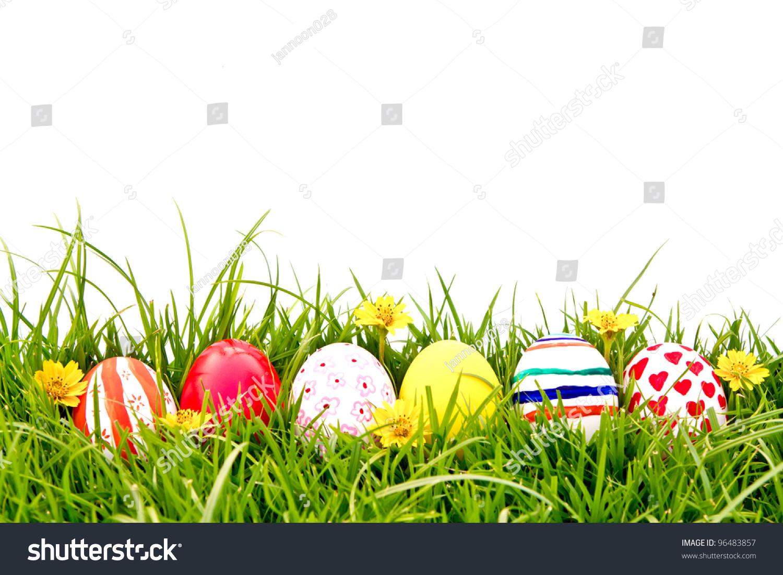 Easter Eggs Flower On Fresh Green Stock Photo 96483857 ...