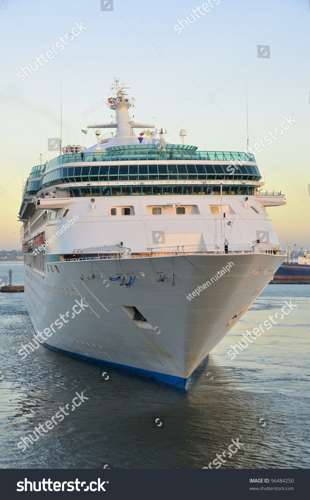 Front View Of Luxury Cruise Ship Stock Photo 96484250
