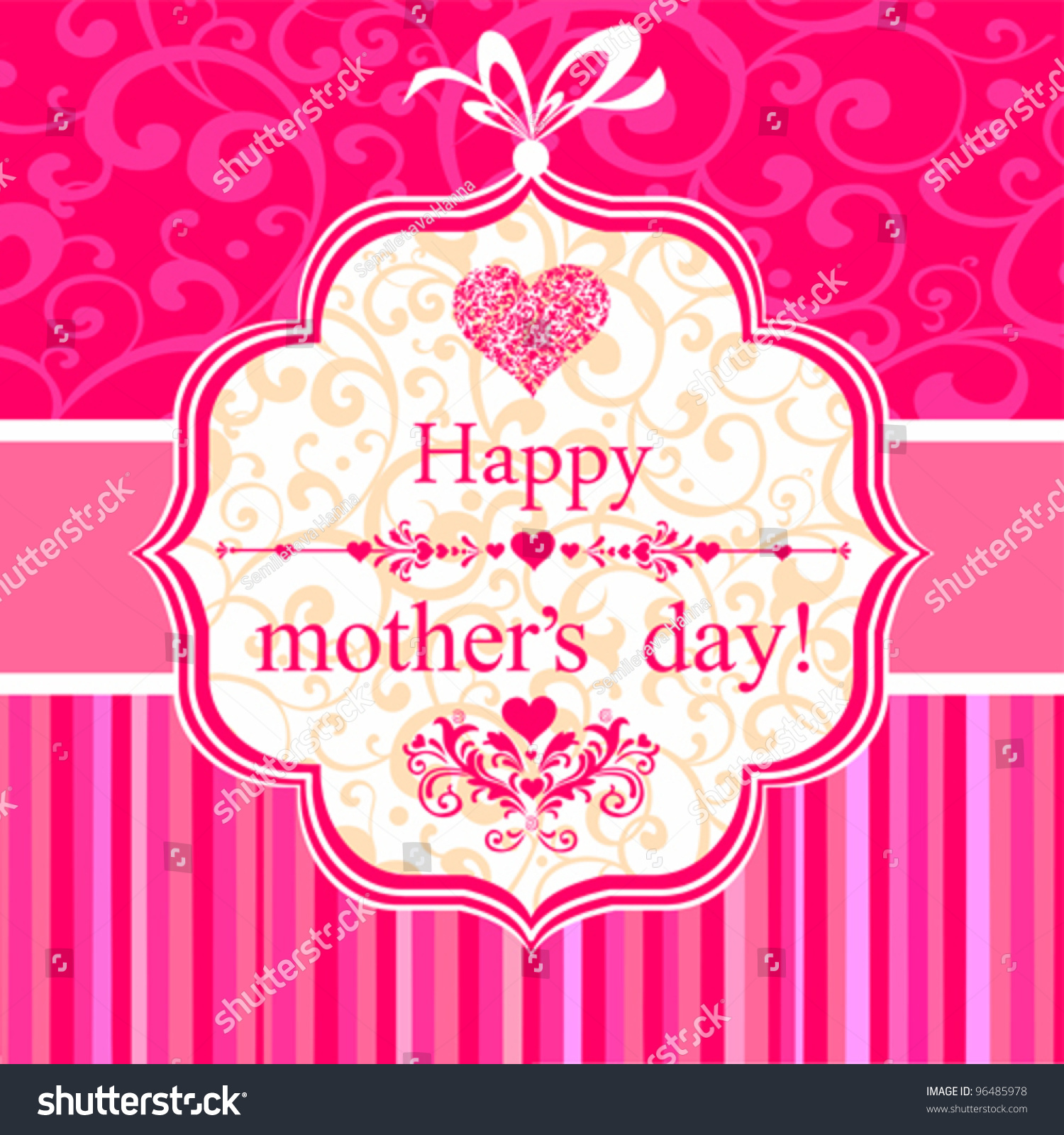 Happy Mothers Day Greeting Card Vector Stock Vector 96485978