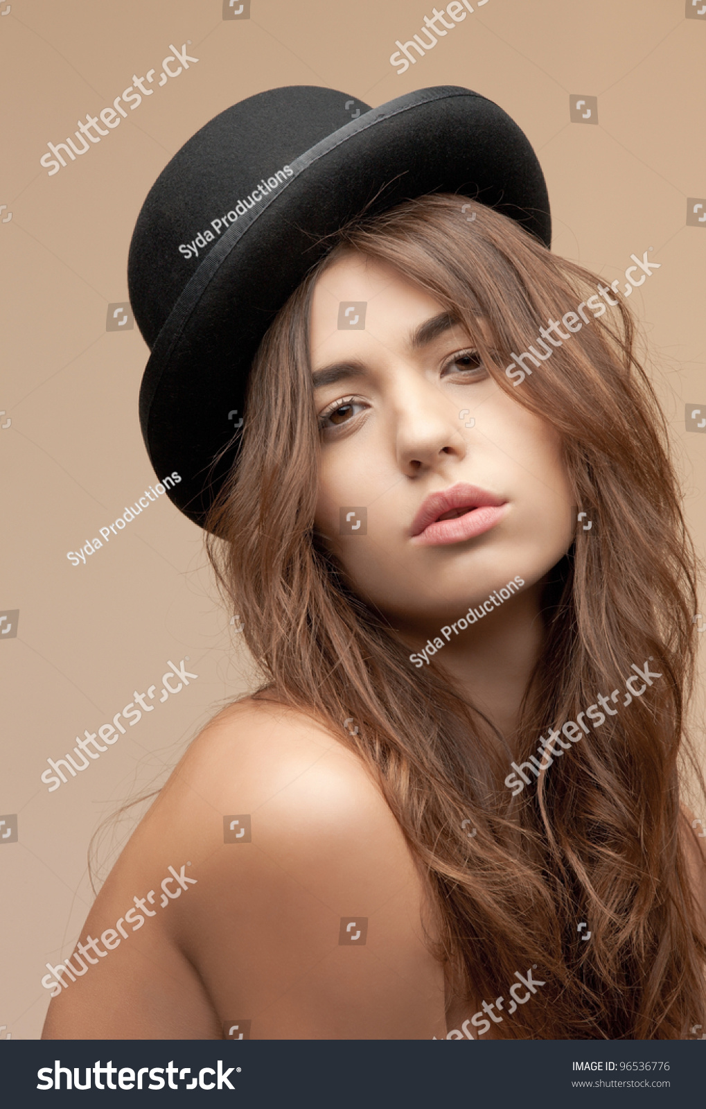 d4ebb34b49d Picture Beautiful Topless Woman Bowler Hat Stock Photo (Edit Now ...
