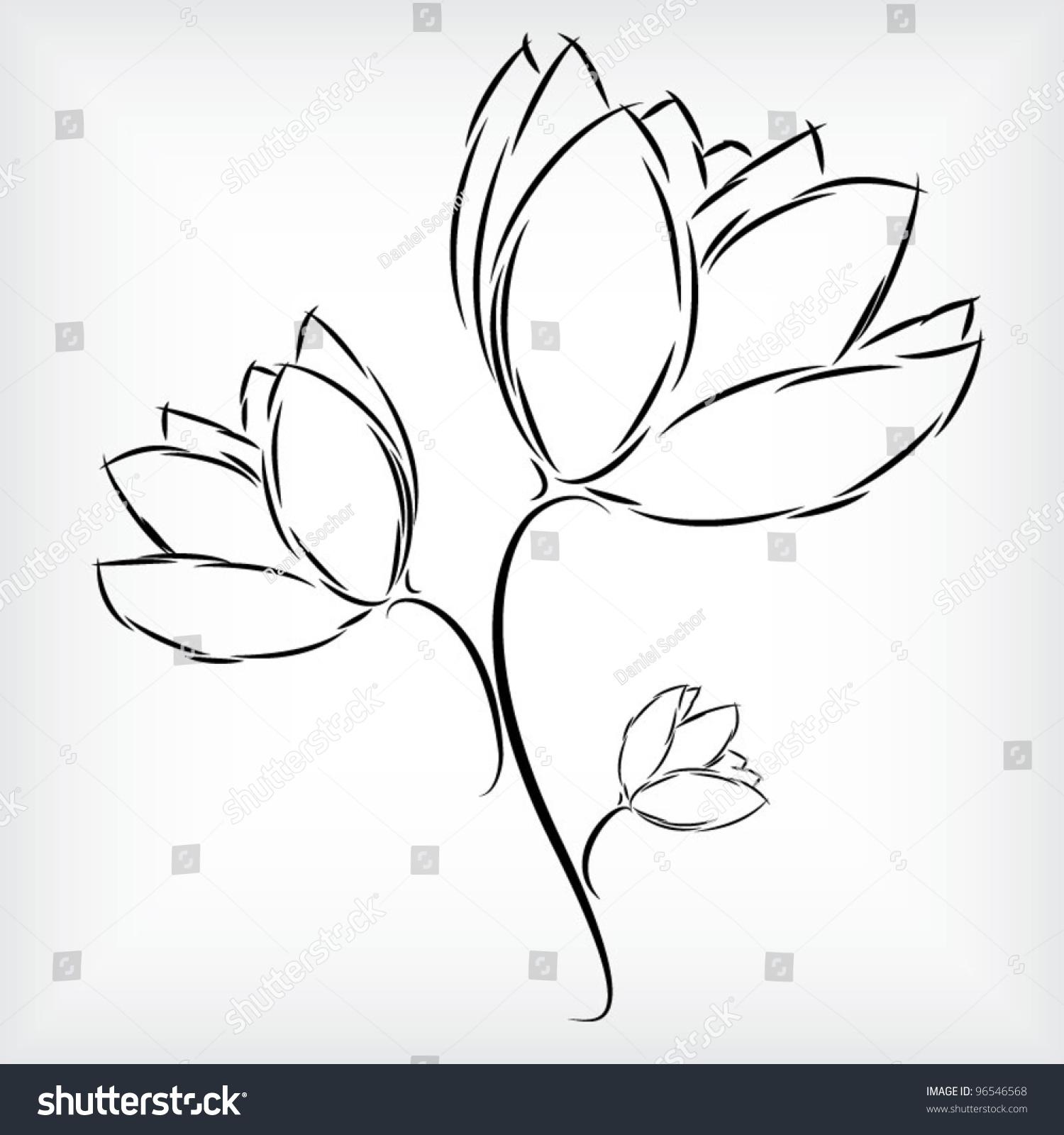 Vetor Stock De Simple Hand Drawing Beautiful Three Tulip Livre De Direitos 96546568