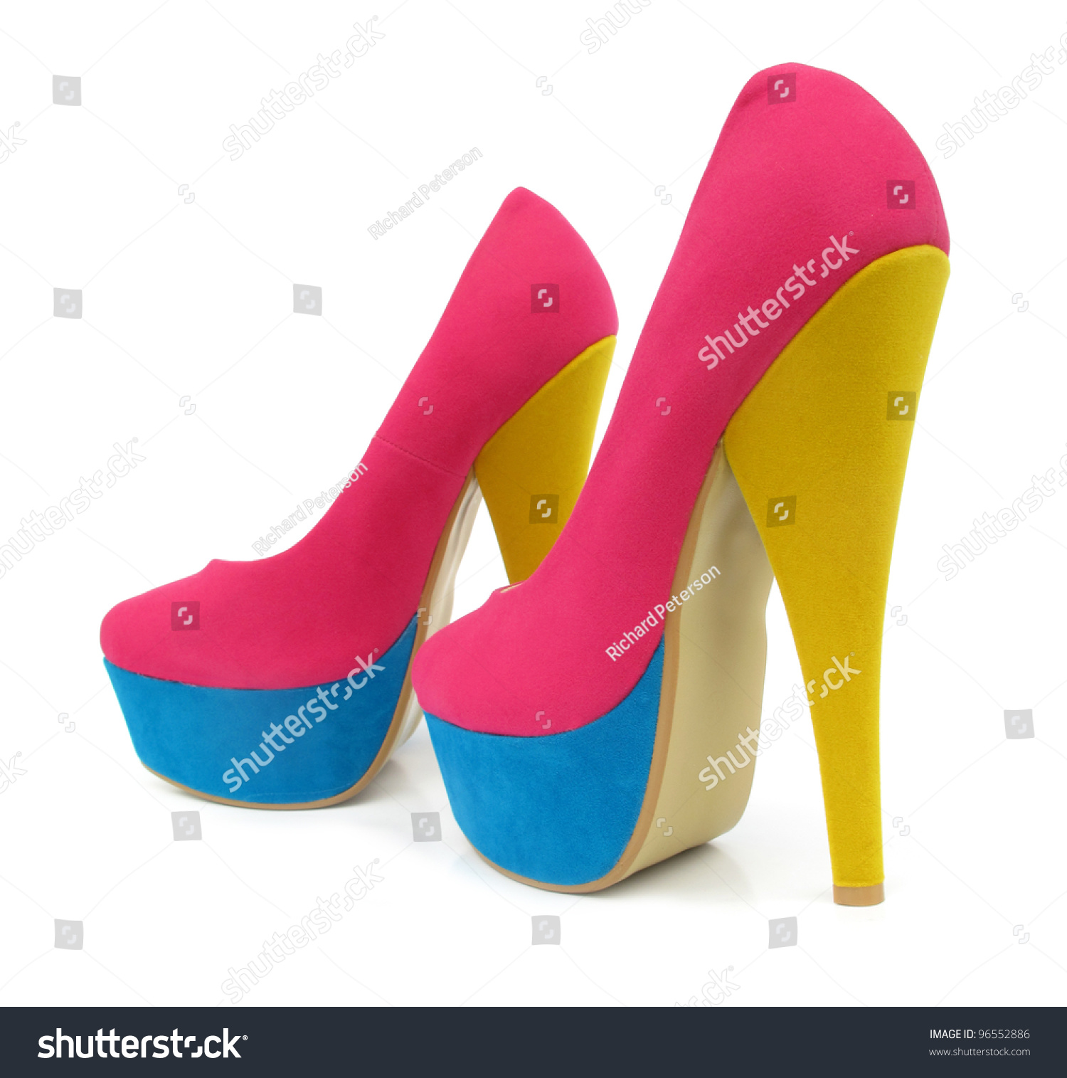Pink Blue Yellow Colorful High Heels Stock Photo 96552886 ...
