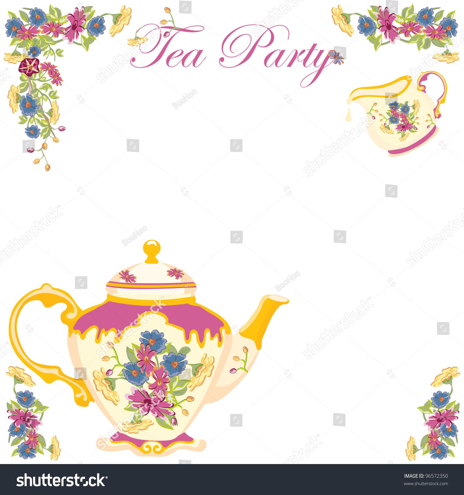 victorian tea pot tea party invitation stock vector royalty free