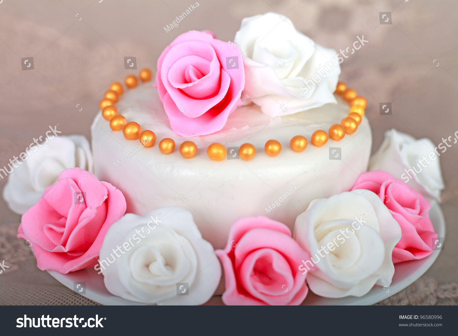 Beautiful Cake With Sugar Roses Stock Photo 96580996