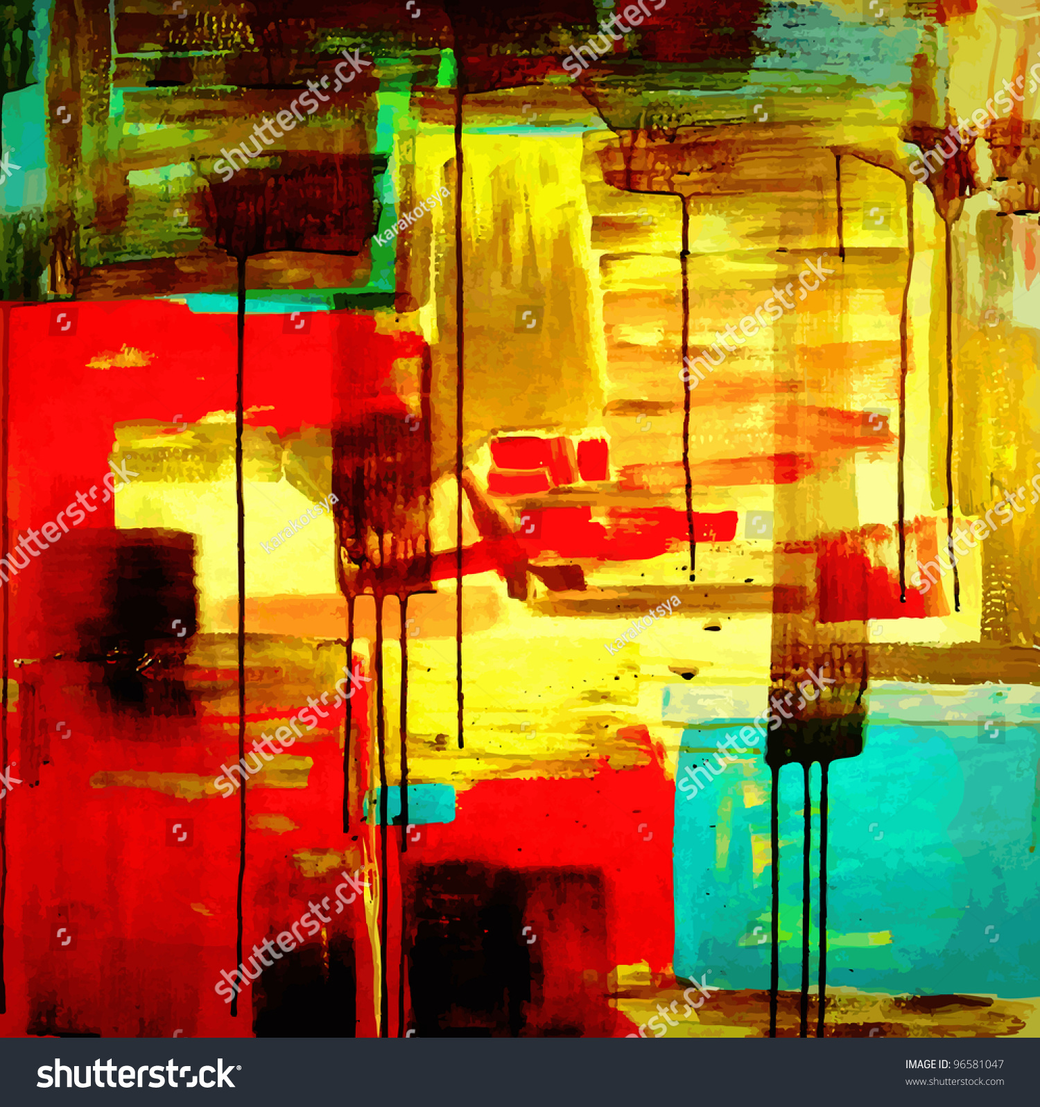 Abstract hand draw acrylic painting composition stock for Abstract painting in acrylic