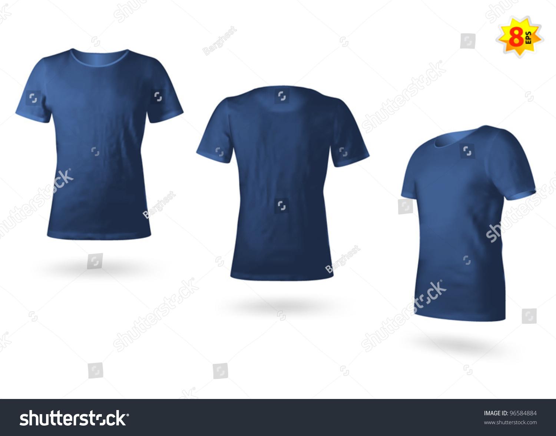 Dark Blue Male Tshirt Template Photorealistic Stock Vector Royalty
