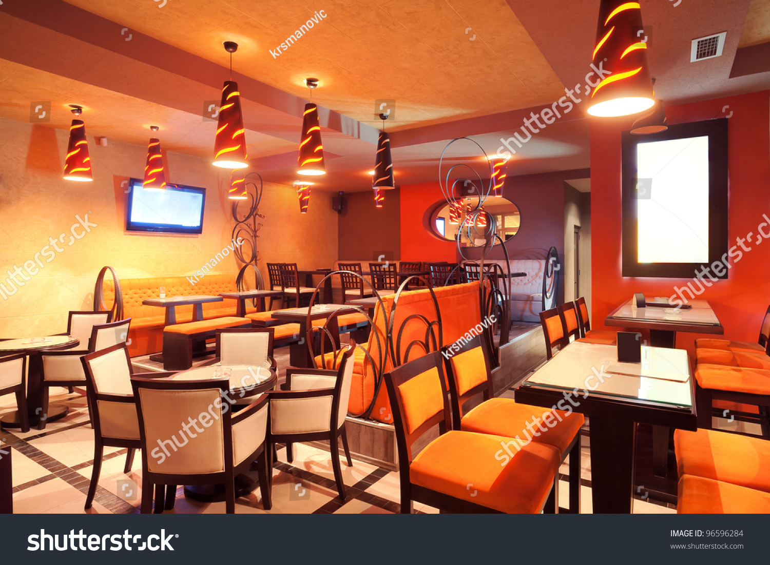 Interior Restaurant Modern Design Few Colors Stock Photo