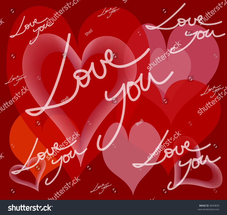 Card Hearts Love Message Lovers Saint Stock Illustration 9659839