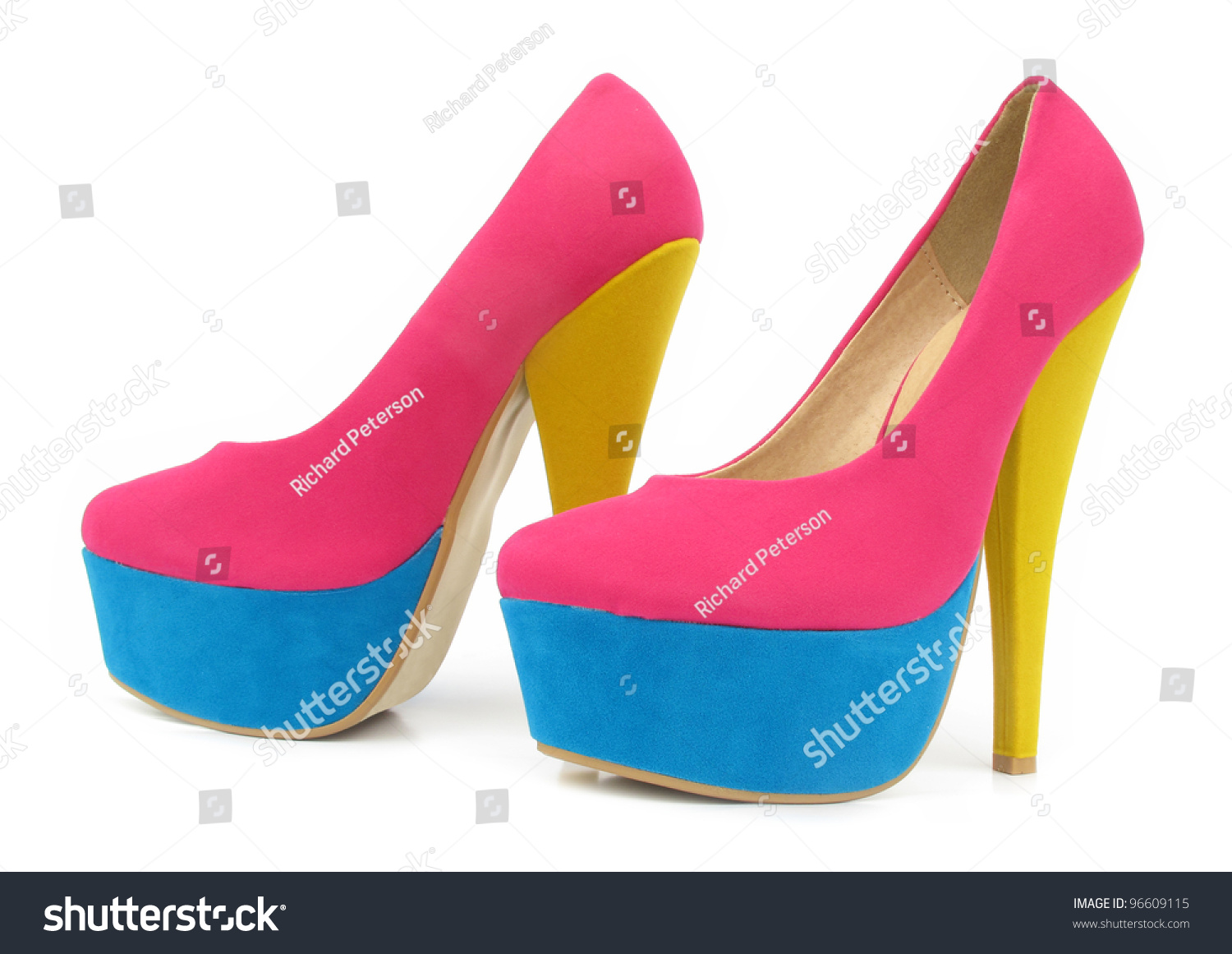 Pink Blue Yellow Colorful High Heels Stock Photo 96609115 ...