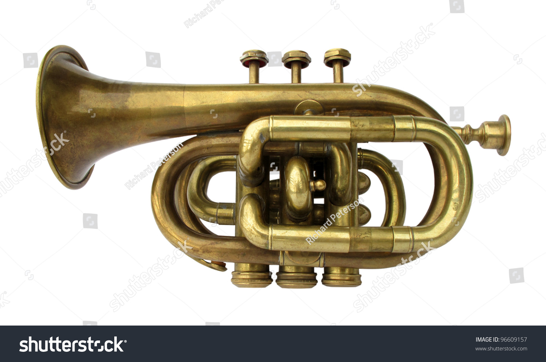 Trumpet Old Brass Instrument Stock Photo (Edit Now) 96609157