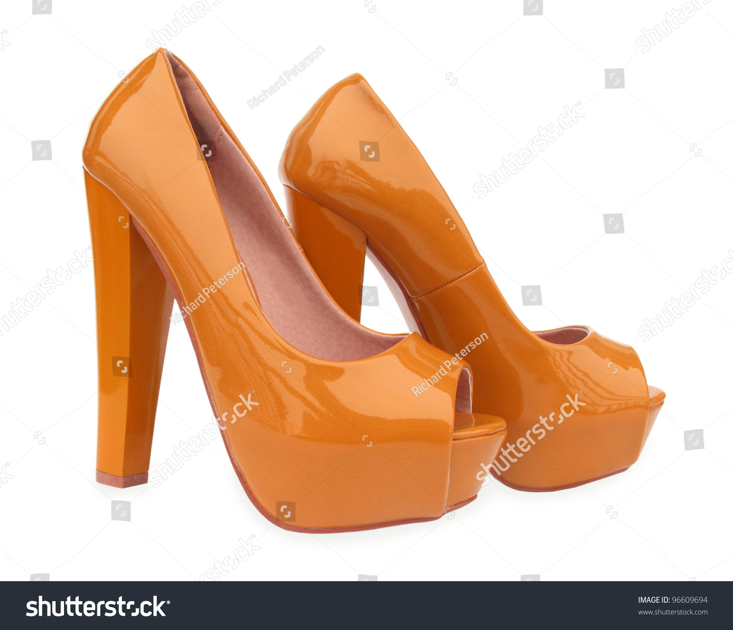 Brown High Heels Open Toe Pump Stock Photo 96609694 - Shutterstock