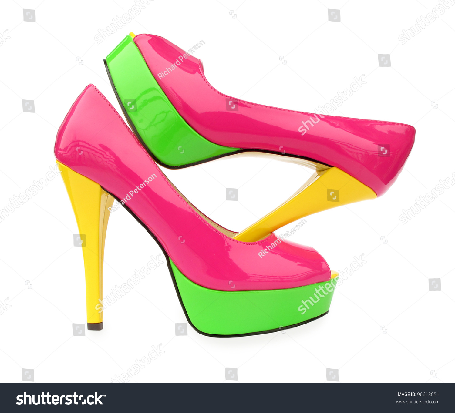 Green And Yellow High Heels - Is Heel