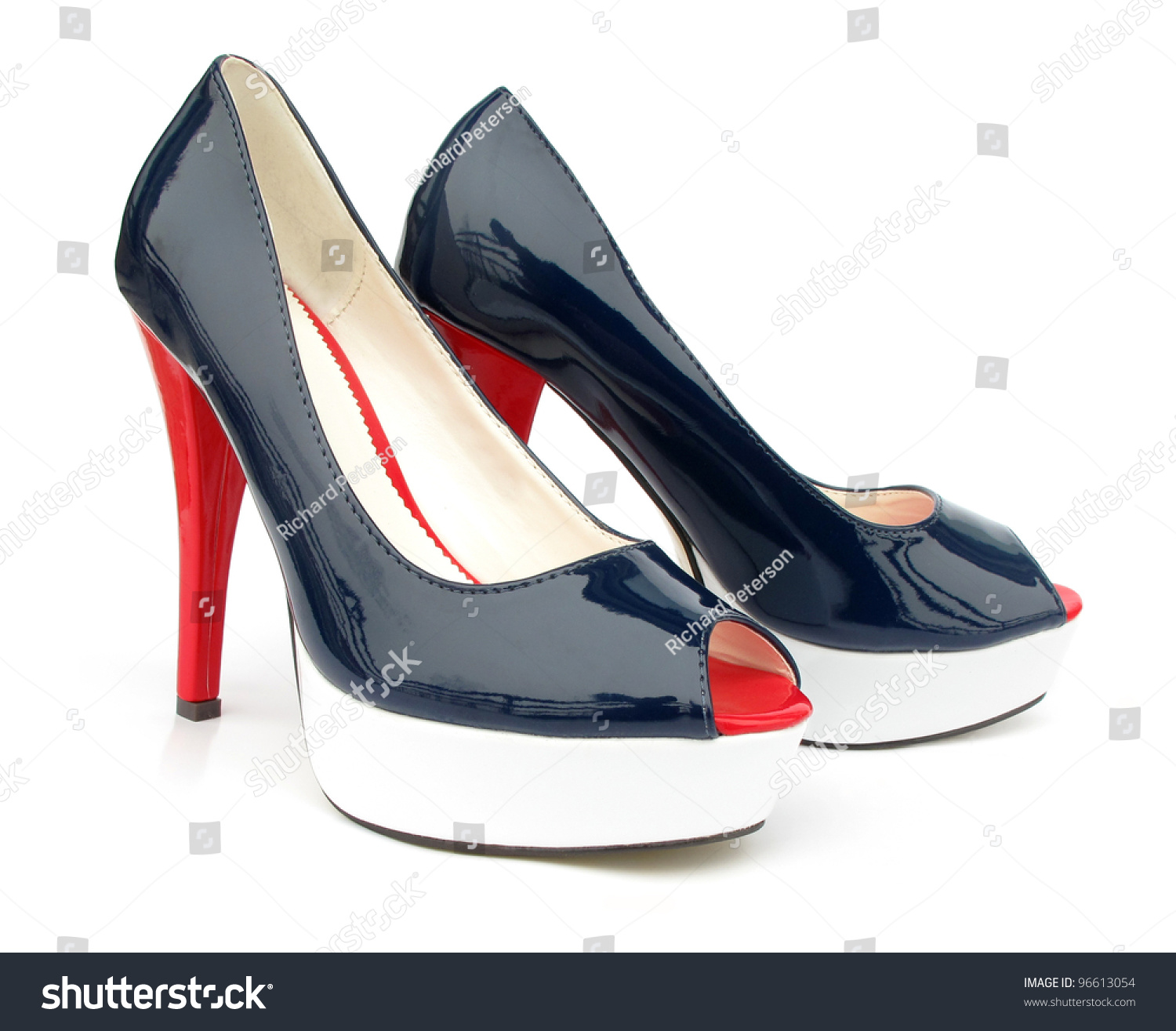 Navy Blue White Red High Heels Open Toe Pump Shoes Stock Photo