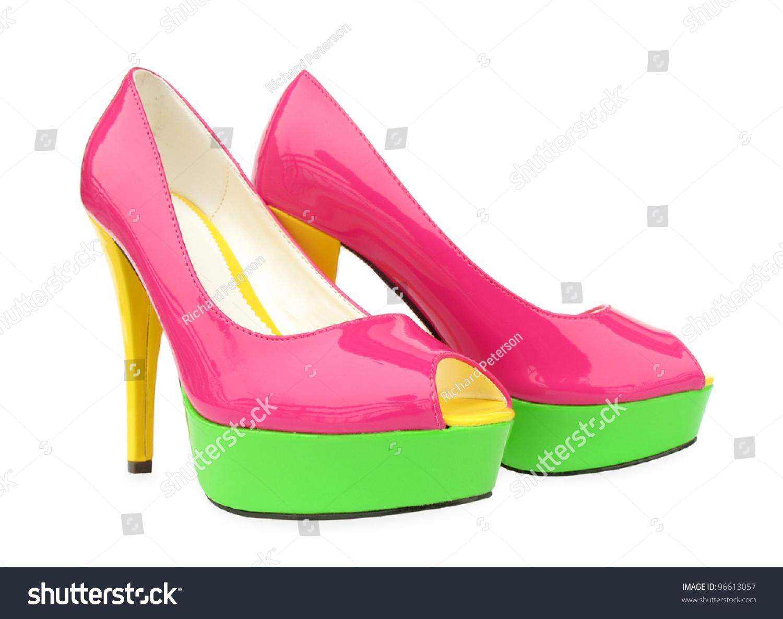 Pink Green Yellow High Heels Open Stock Photo 96613057 - Shutterstock