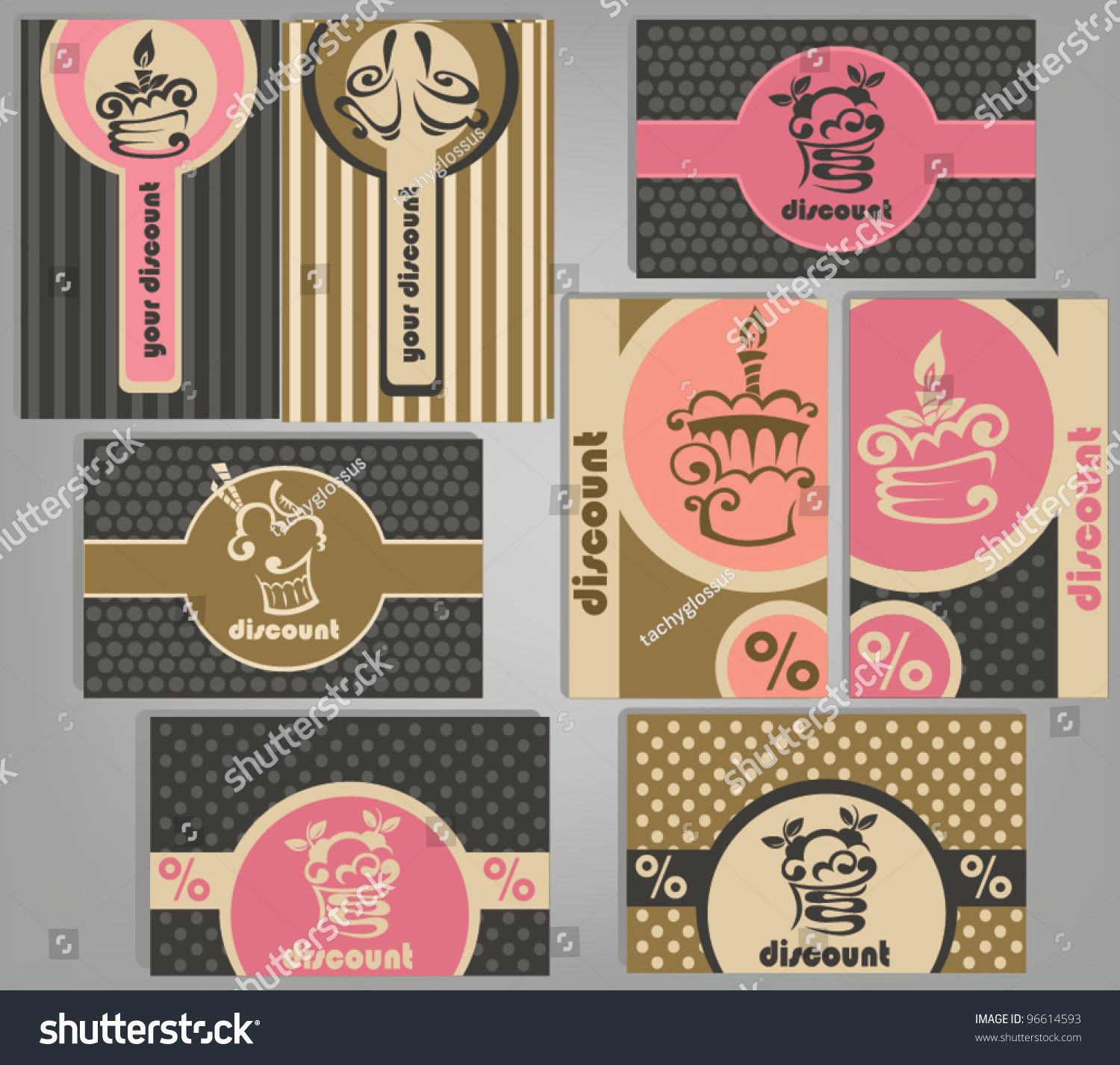 Set Variety Business Gift Cards Cakes Stock Vector