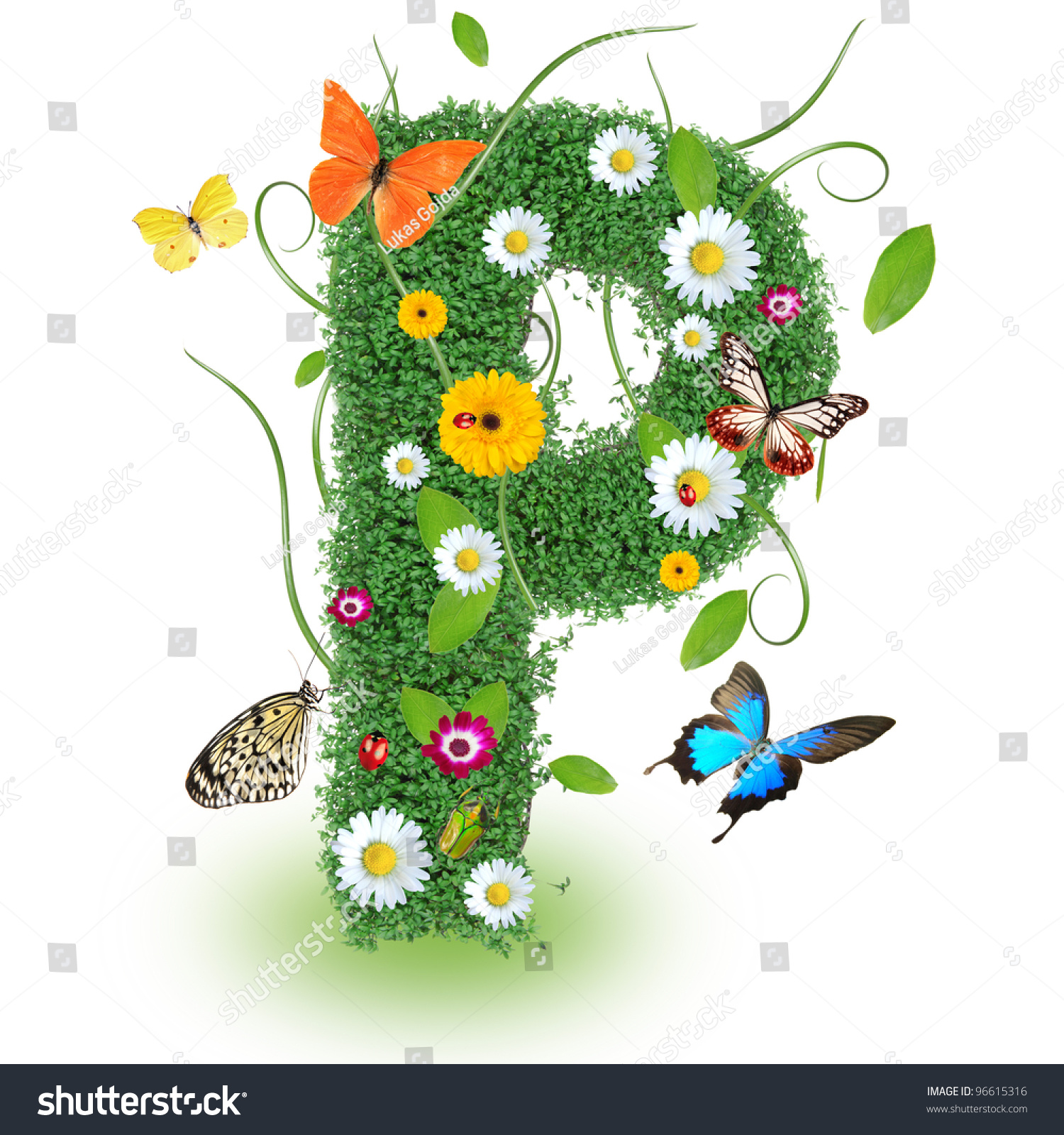 Beautiful Spring Letter P Stock Photo Edit Now 96615316 Shutterstock