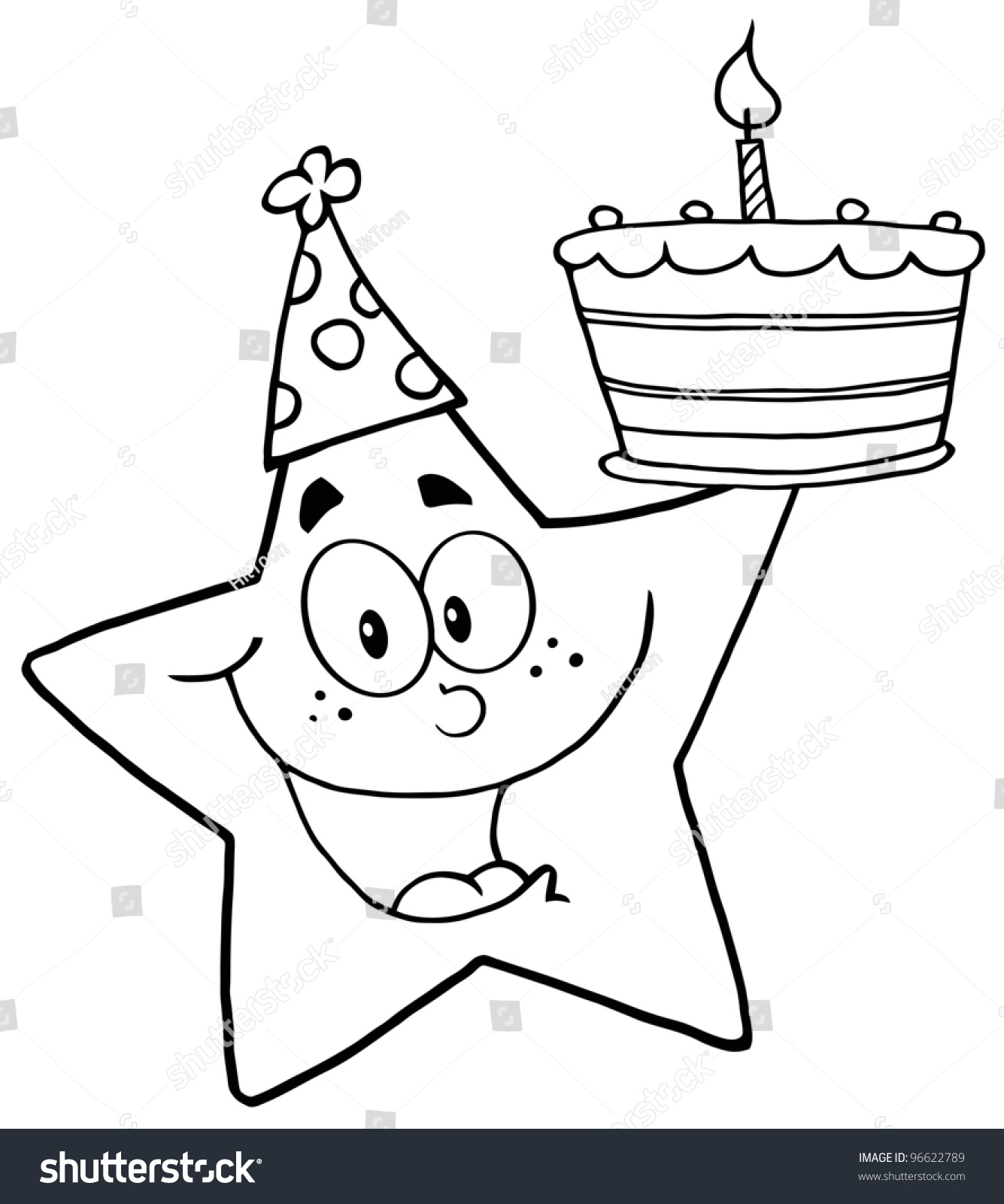 Outline Happy Star Holding Birthday Cake Stock Vector Royalty Free