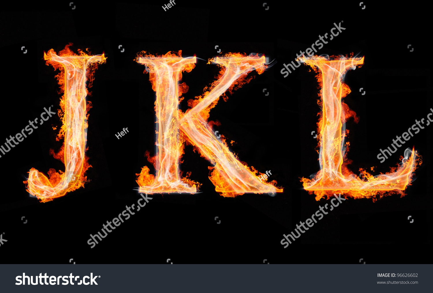 Jkl Letters From Fire Isolated On Black Stock Photo 96626602 : Shutterstock
