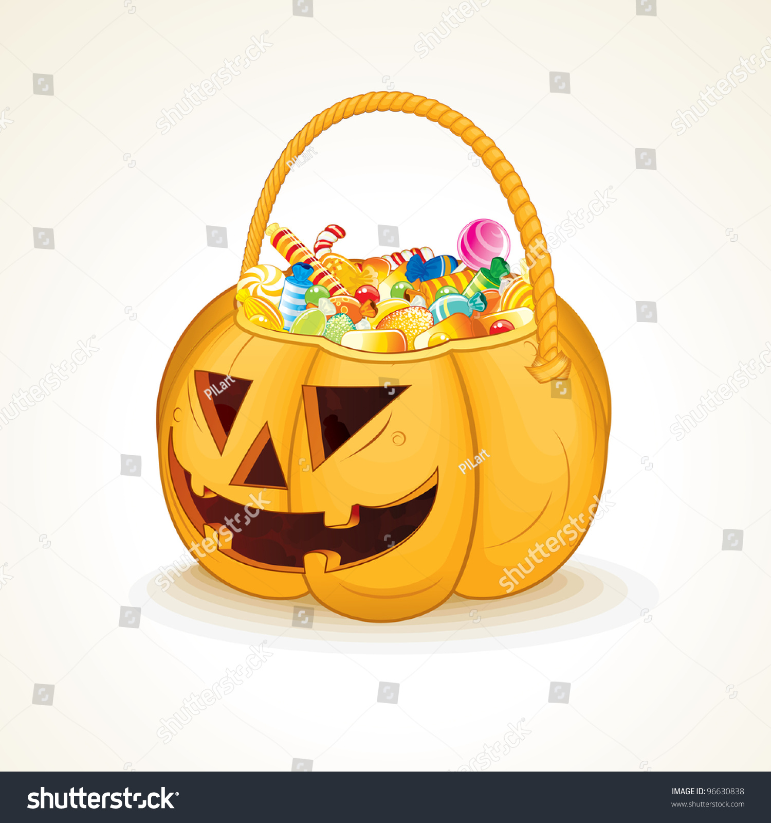 tricks treats halloween jack o lantern stock vector 96630838