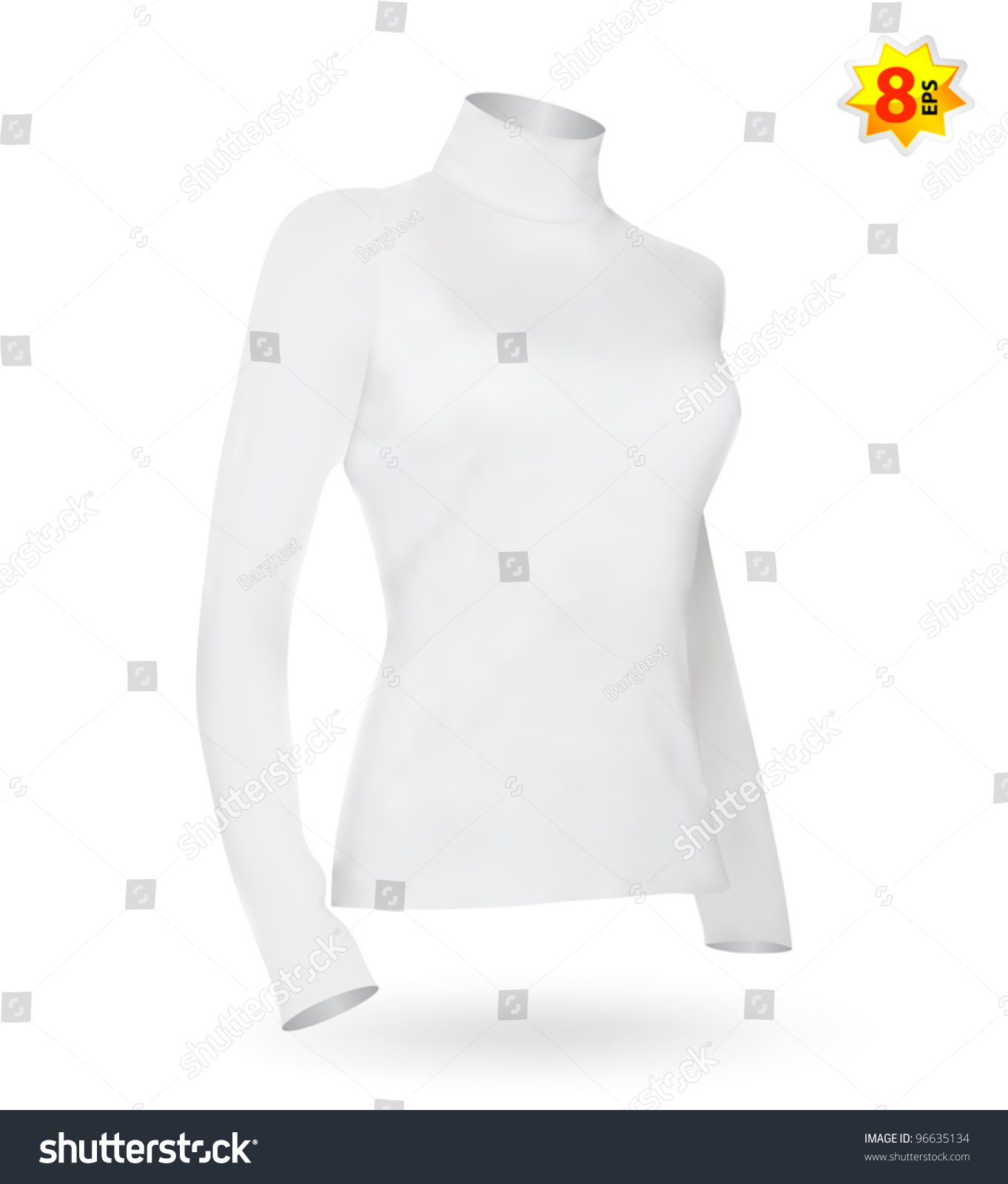 Female Long Sleeve Tshirt Template Photorealistic Stock Vector