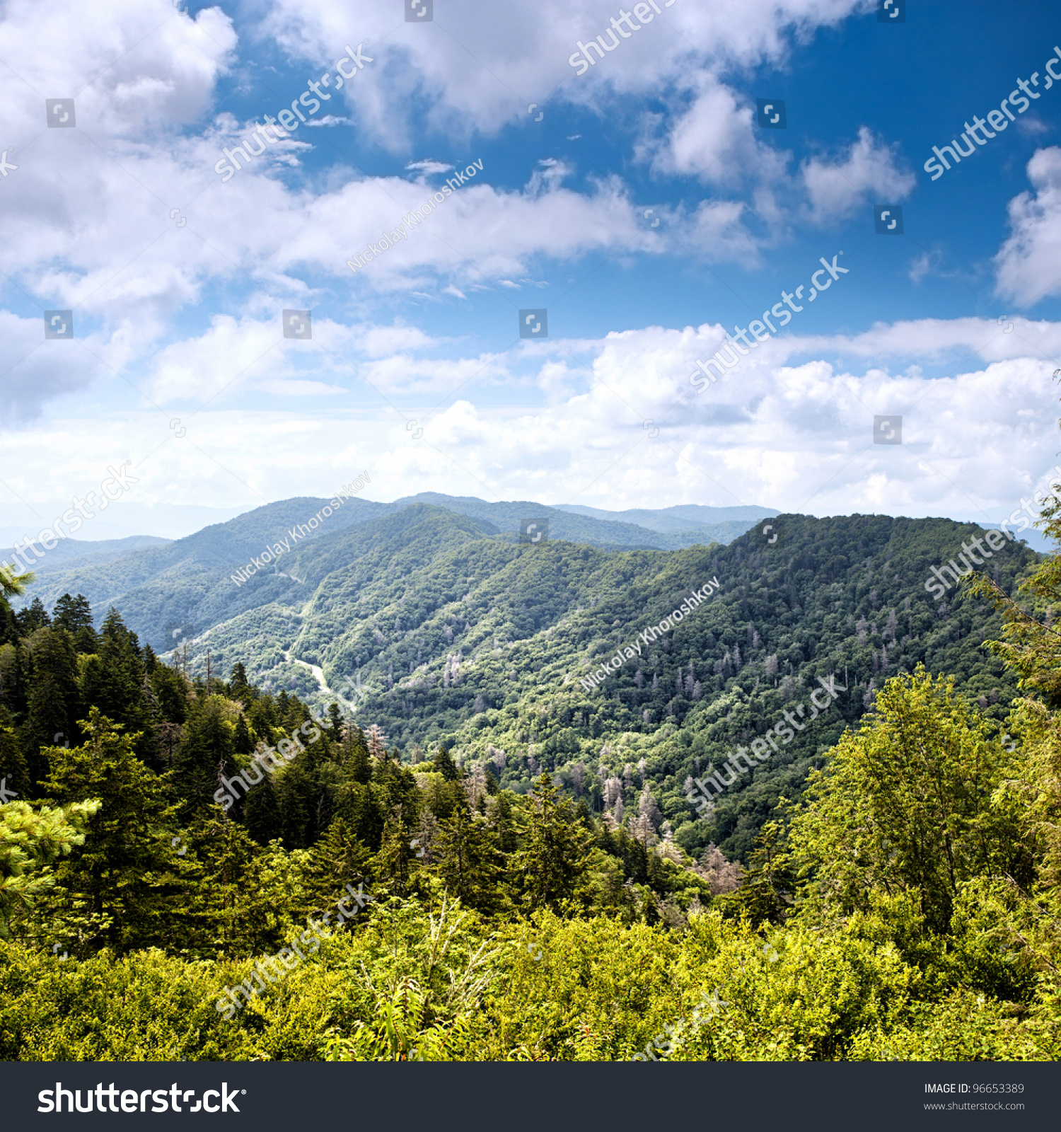 Mountain Valley At Sunny Day. Great Smoky Mountains ...