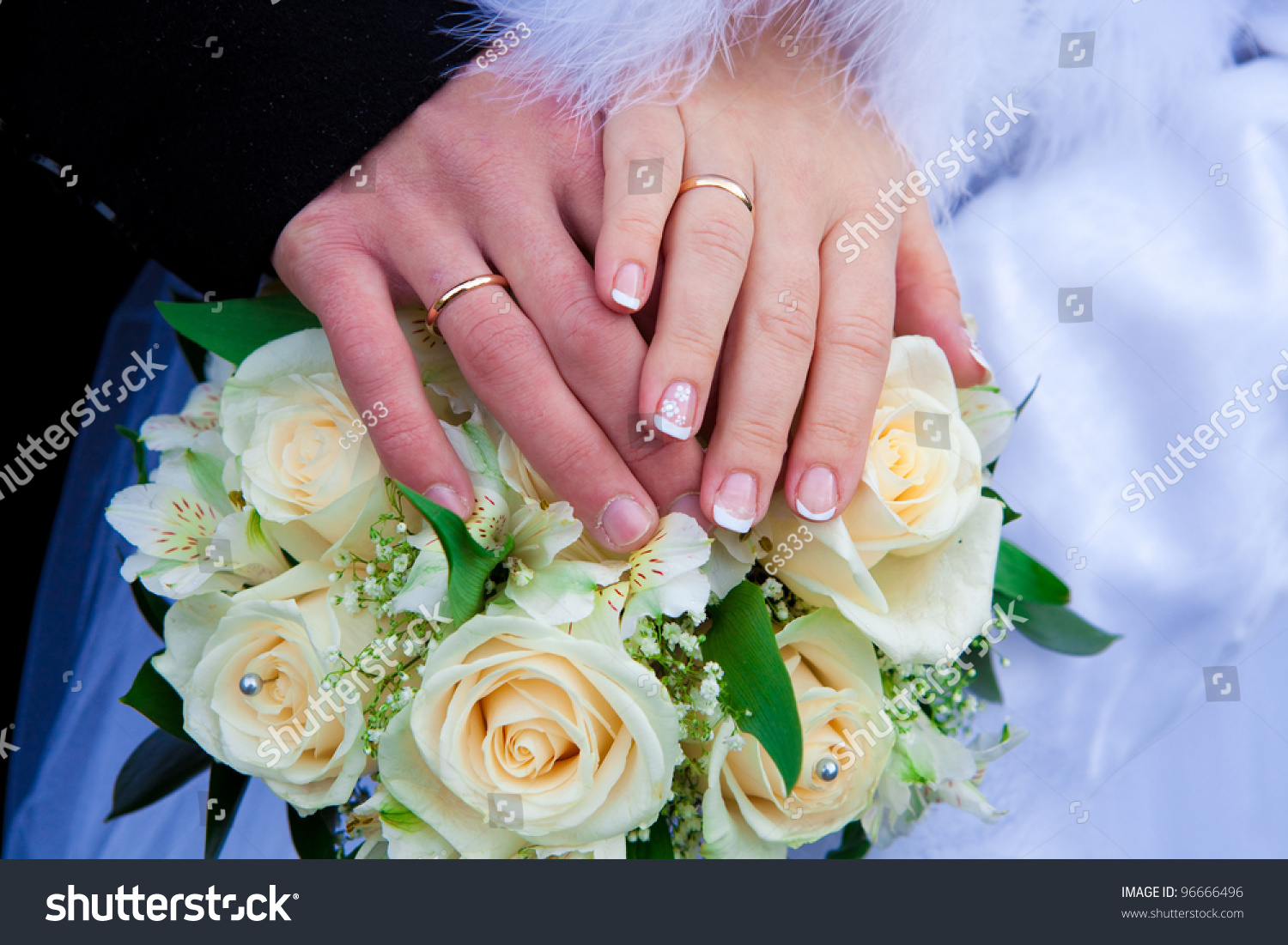 Hands Newlymarried Couple Wedding Rings Flowers Stock Photo (Safe to ...