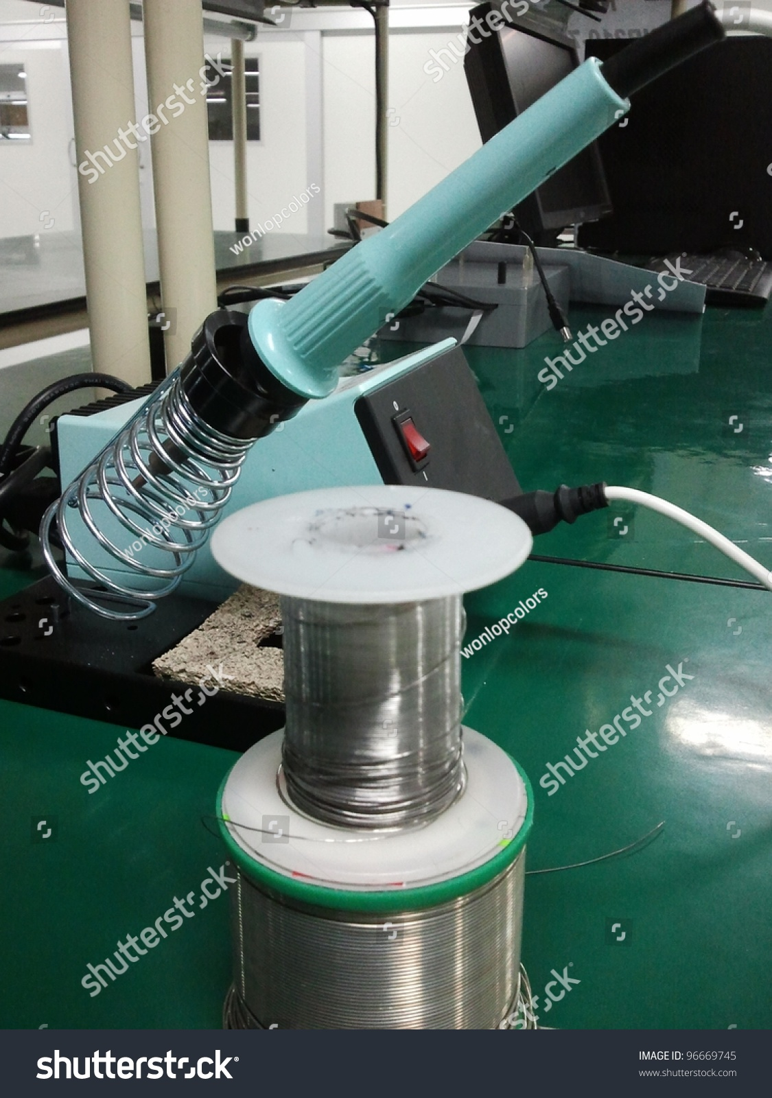 Soldering Iron Stock Photo Edit Now 96669745 Shutterstock Machine Circuit Board Buy Boardwelding