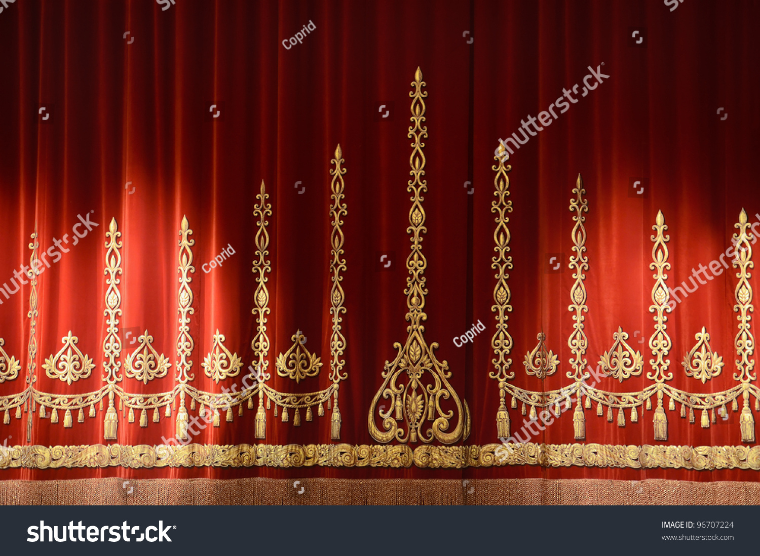 Red gold stage theater curtain background stock photo for Red and gold drapes