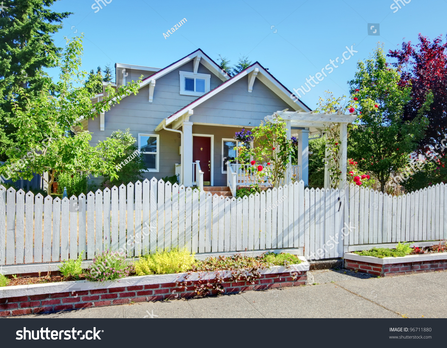 Excellent Grey Small Cute House White Fence Stock Photo 96711880 Shutterstock Largest Home Design Picture Inspirations Pitcheantrous