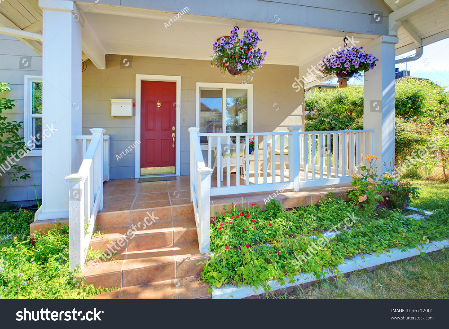 grey house porch red door white stock photo 96712000 shutterstock. Black Bedroom Furniture Sets. Home Design Ideas