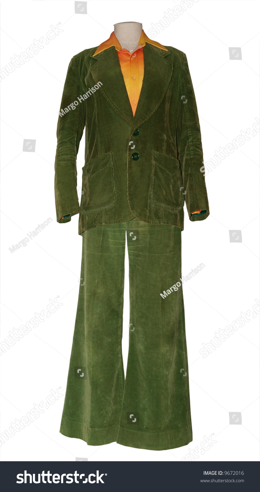 0c45fa45d8b9 Old Olive Corduroy Trouser Suit On Stock Photo (Edit Now) 9672016 ...