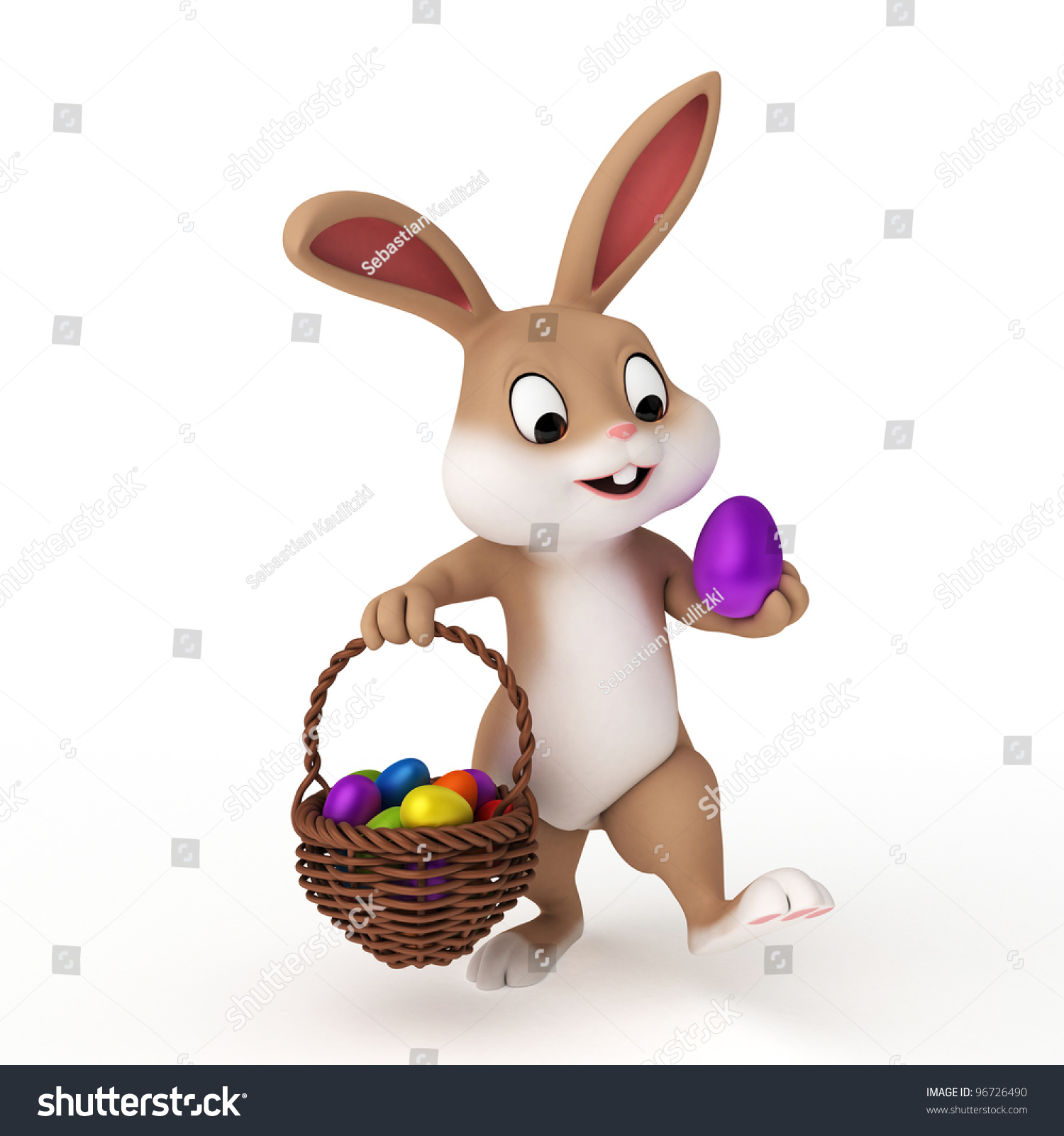 3d Rendered Illustration Of A Cute Easter Bunny - 96726490 ...