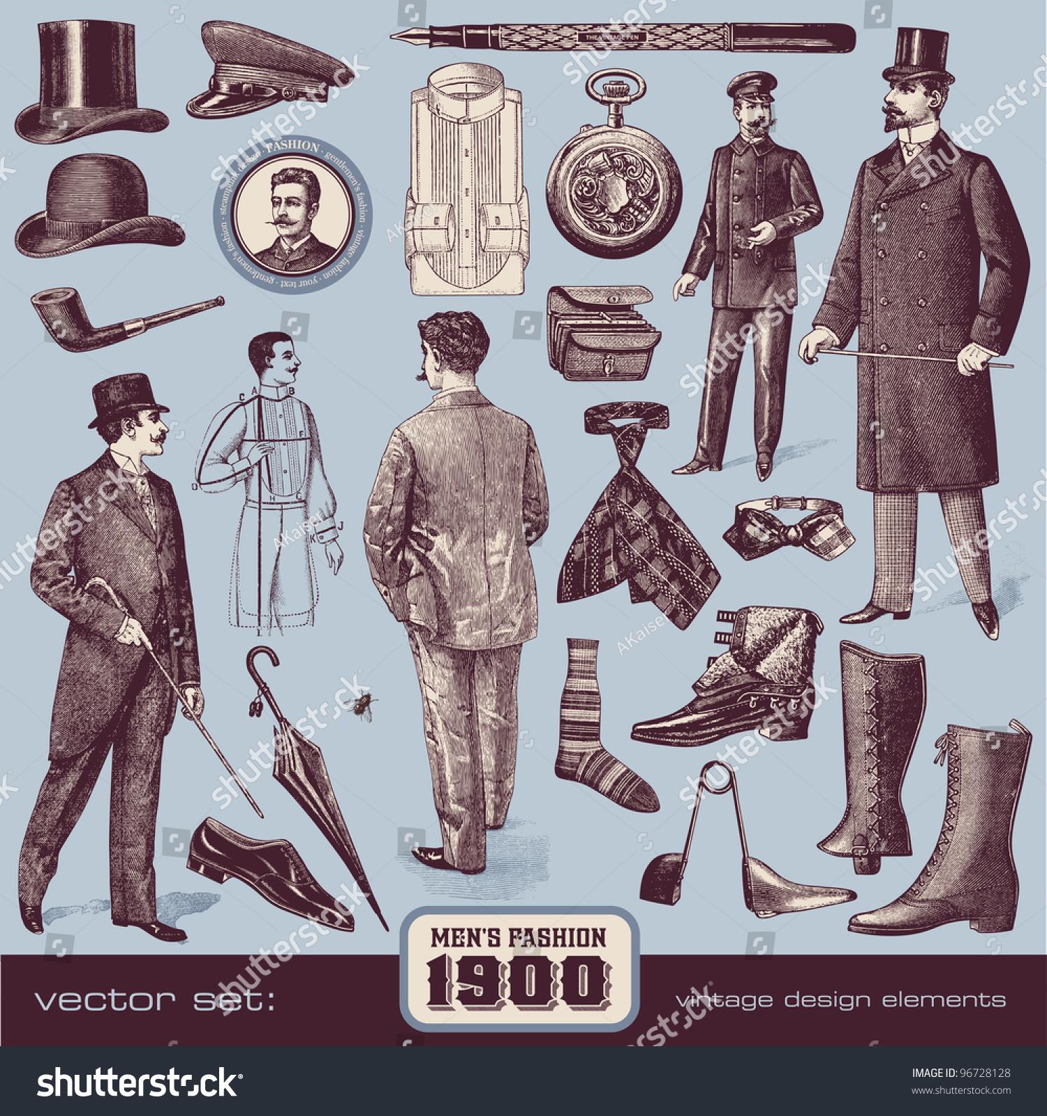 Gentlemen 'S Fashion And Accessories (1900) Stock Vector